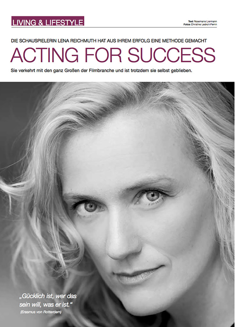 """ACTING DOR SUCCESS by Lena Reichmuth - """"Aus dem Erfolg eine Methode kreiert"""""""