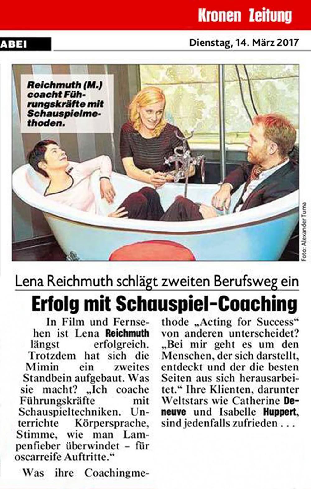 "ACTING FOR SUCCESS by Lena Reichmuth - ""Erfolg mit Schauspielcoaching"""