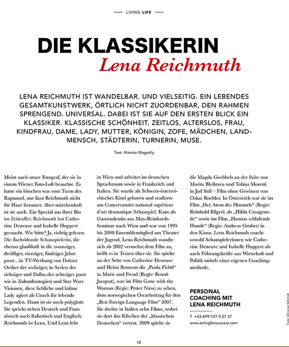 "ACTING FOR SUCCESS by Lena Reichmuth - ""DIE KLASSIKERIN-Lena Reichmuth"""""