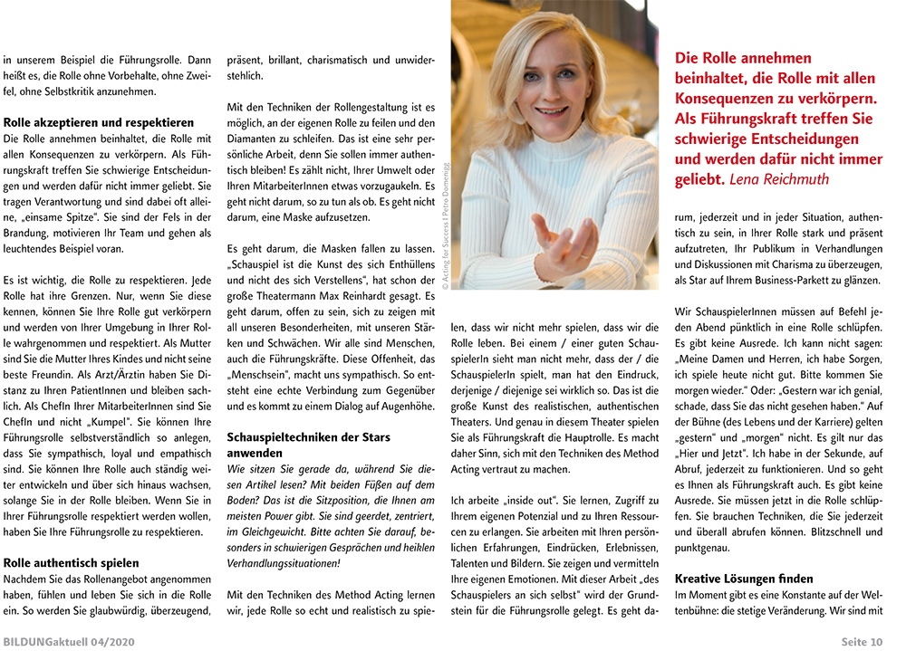 "ACTING FOR SUCCESS by Lena Reichmuth - ""So werden Sie zum Star"""