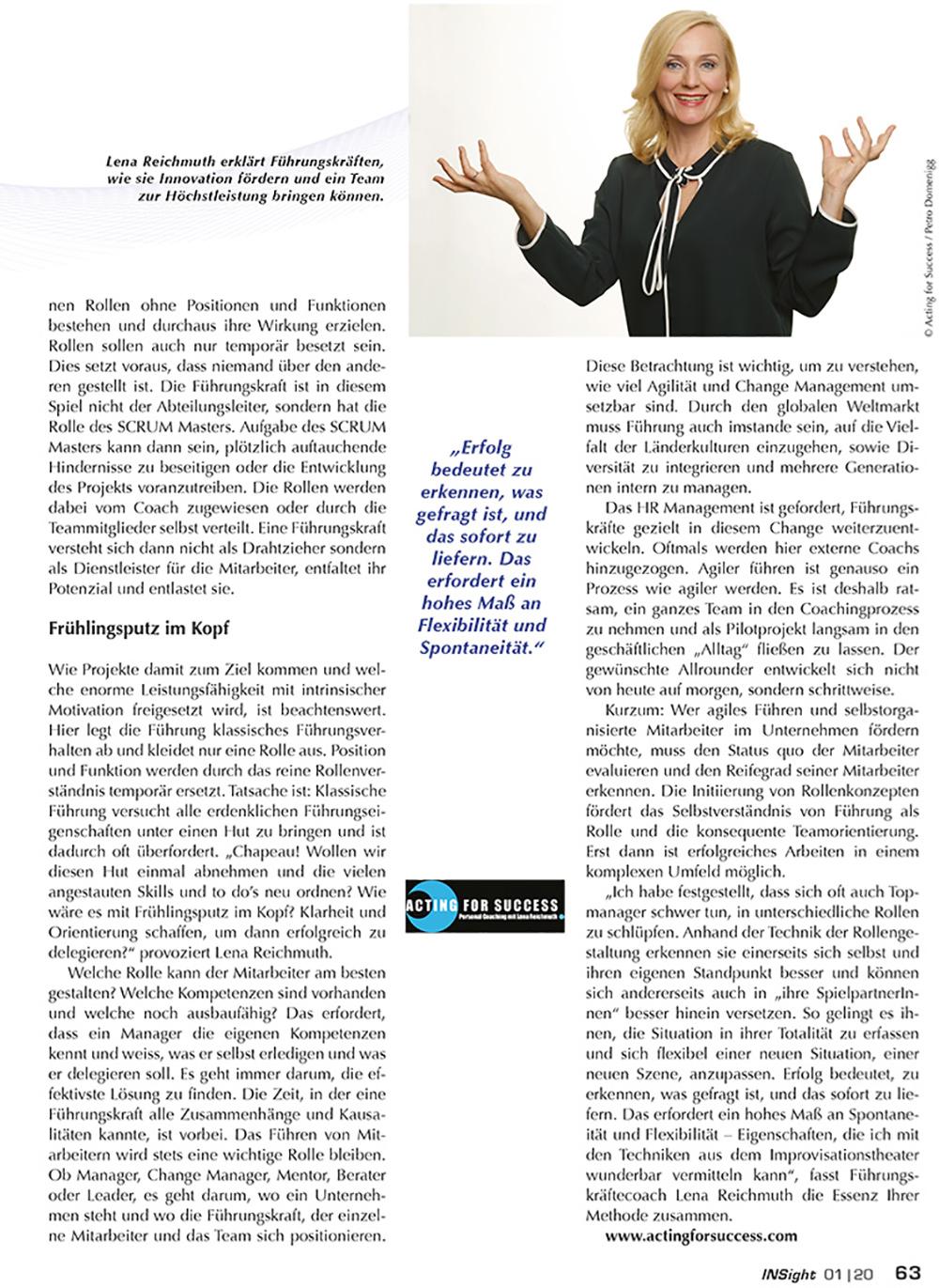 """LENA REICHMUTH - Presse - """"Transformation der Führungsrolle"""""""