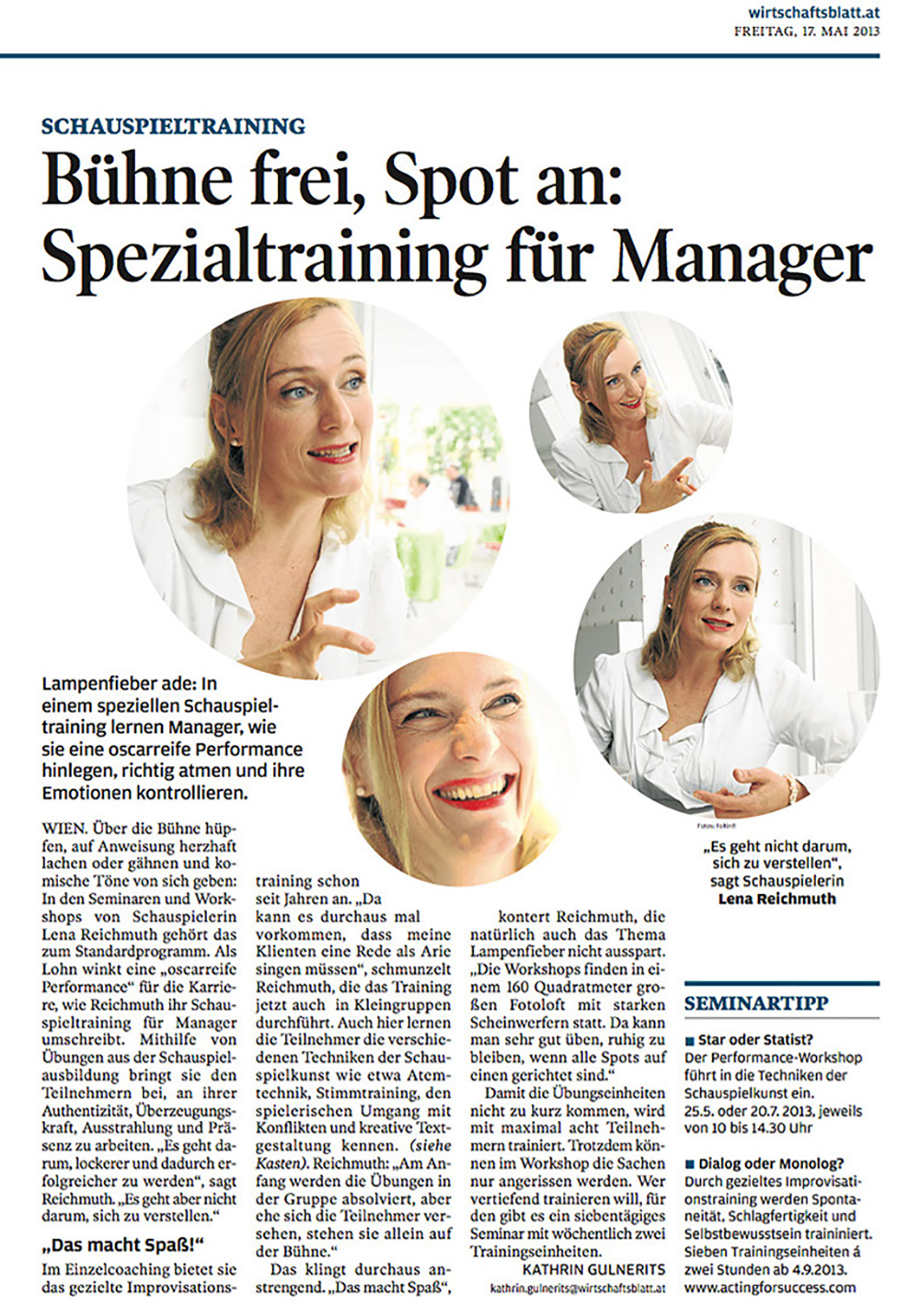 "ACTING FOR SUCCESS by Lena Reichmuth - ""Bühne frei, Spot an: Spezialtraining für Manager"""